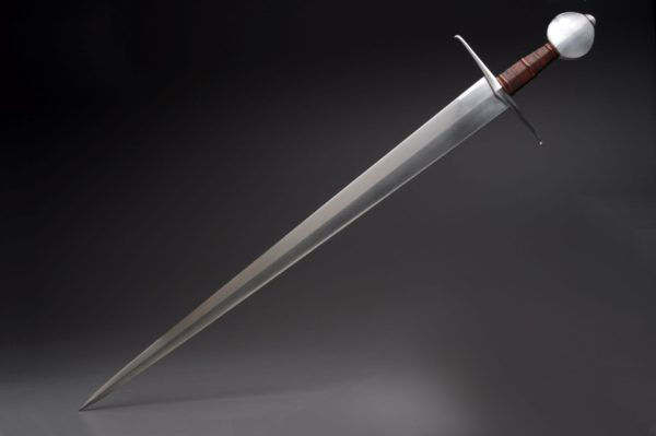 "27"" High Carbon Steel Arming Sword With Maple, Goat Leather, And Cord"