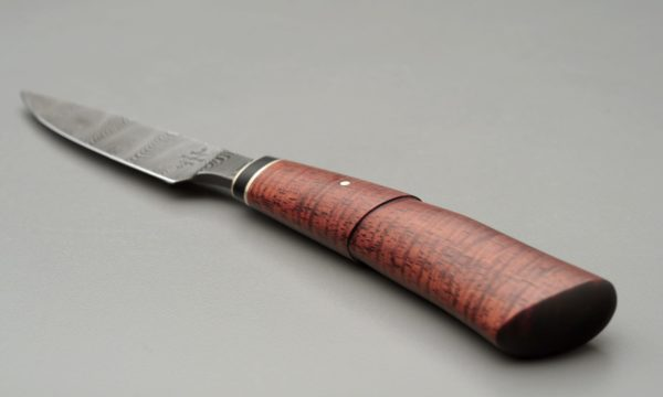 "3"" High Carbon Damascus Steel Desk Knife With Sterling Silver, Buffalo Horn, And Curly Koa"
