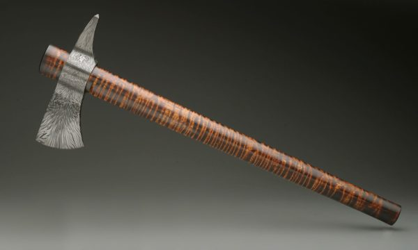 Dragon's Fire High Carbon Damascus Steel Tomahawk With Curly Maple Haft