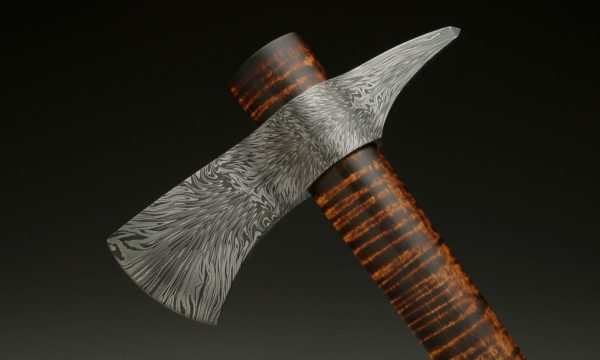 "7.5"" Dragon's Fire Damascus Steel Tomahawk Head"