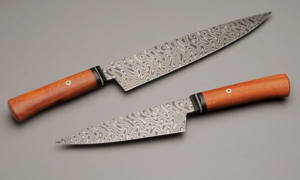"10"" & 7"" Texas Wind Pattern Damascus Steel Chef Knife Pair With Stabilized Sycamore, Micarta, And Nickel Silver"
