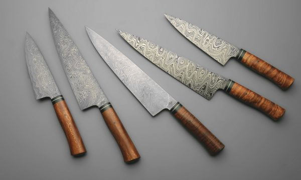 Damascus Steel Chef Knives Kit With Curly Maple, Sycamore, And Koa