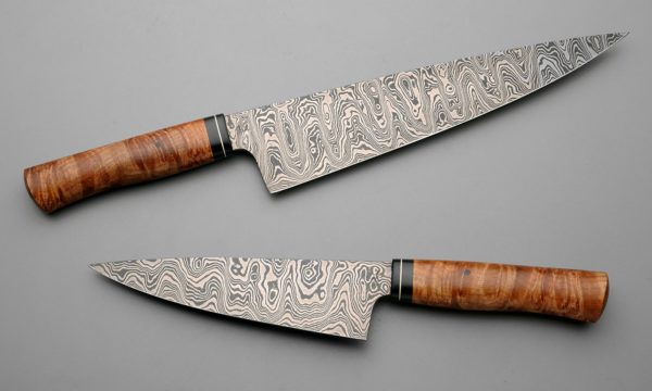 "10"" & 7"" Mid Layer Latter Pattern Chef Knives With Big Leaf Maple, Micarta, And Nickel Silver"