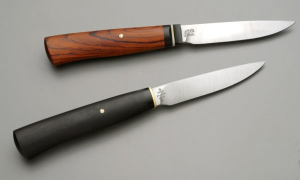 "3.5"" High Carbon Steel Paring Knife Pair With African Blackwood, Cocobolo, Micarta, And Nickel Silver"