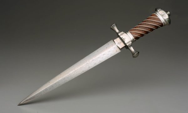 "10.125"" High Carbon Damascus Steel Hessian Quillon Dagger With Pure Silver, And Curly Koa"