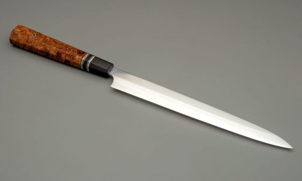 270mm High Carbon Steel Yanagi Ba With Nickel Silver, Maple Burl, Gaboon Ivory, Micarta, And Vulcanized Fiber