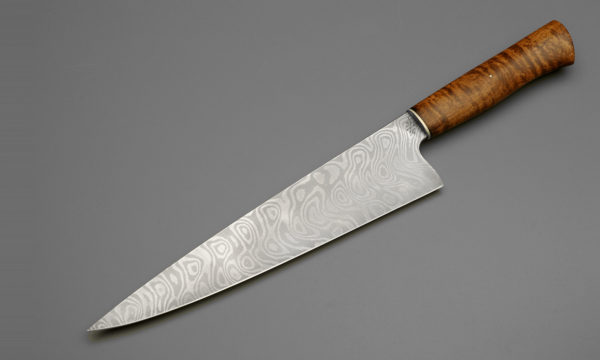 "10"" Texas Wind Damascus Steel Chef Knife With Curly Maple"