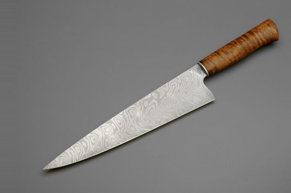 """10"""" Texas Wind Damascus Steel Chef Knife With Curly Maple"""