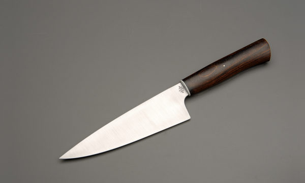 "7"" High Carbon Steel Chef Knife With Stabilized Brown Birch"