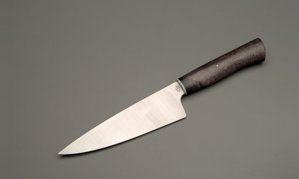 "7"" High Carbon Steel Chef Knife With Stabilized Black Maple"