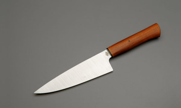"""7"""" High Carbon Steel Chef Knife With Stabilized Sycamore"""