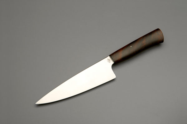 """7"""" High Carbon Steel Chef Knife With Stabilized Walnut"""