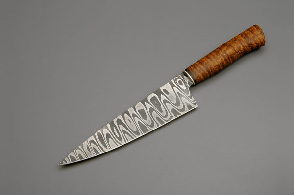 "8"" High Carbon Low Layer Ladder Pattern Damascus Steel Chef Knife With Curly Maple"