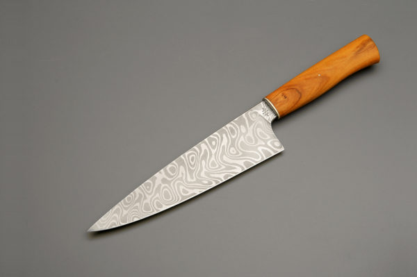 "8"" High Carbon Damascus Steel Chef Knife With Tasmanian Huon Pine"