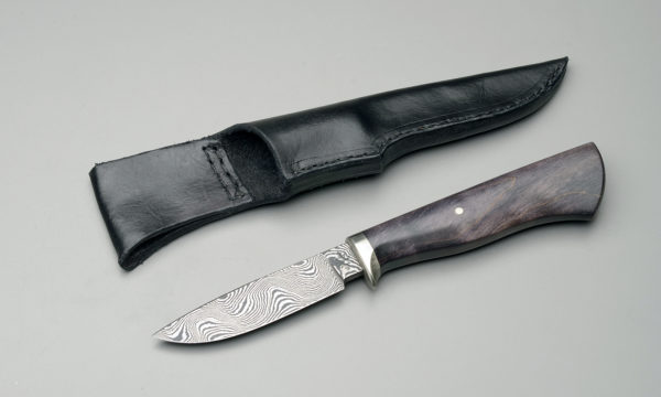 "4"" Damascus Steel Drop Point Hunting Knife With Black Dyed Maple"