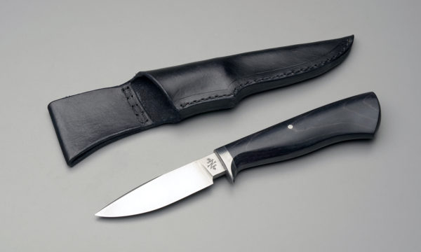 "4"" Drop Point Hunting Knife With Black Dyed Birch"