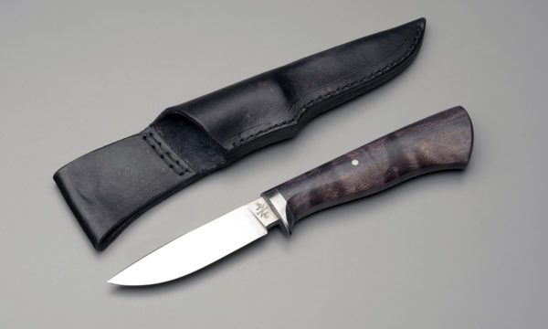 "4"" Drop Point Hunting Knife With Black Dyed Maple"