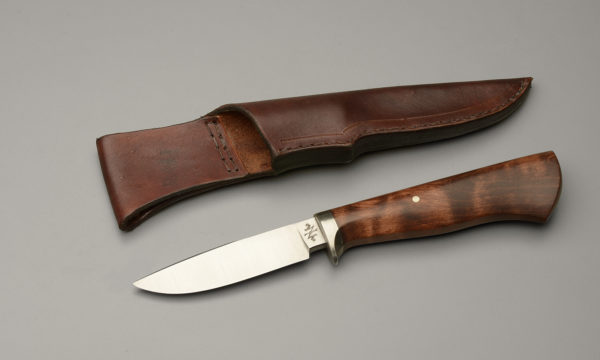 "4"" Drop Point Hunter Knife With Brown Dyed Maple"