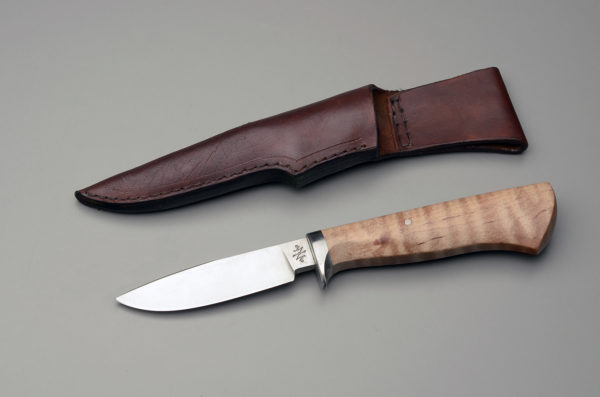 """4"""" Drop Point Hunter (Lefty) With Curly Maple"""
