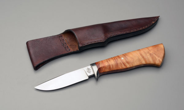 Drop Point Hunting Knife With Wooden Handle