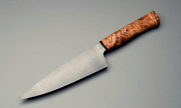 "7"" High Carbon Damascus Steel Chef Knife With Stabilized Eucalyptus Burl"