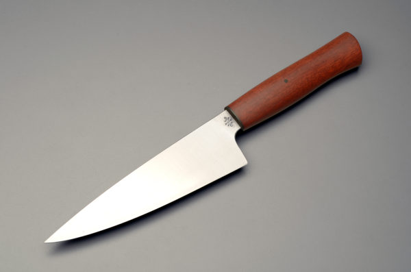 """7"""" High Carbon Steel Chef Knife With Stabilized Bloodwood Handle"""
