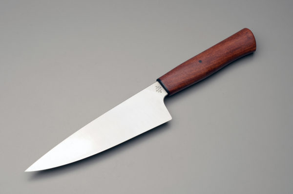 "7"" High Carbon Steel Chef Knife With Stabilized Bloodwood Handle"