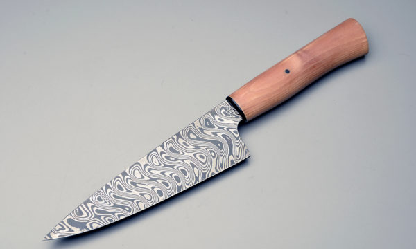 "7"" High Carbon Damascus Steel Chef Knife With Stabilized Birch Wood Handle"