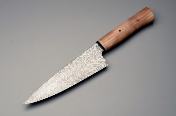 """7"""" High Carbon Damascus Steel Chef Knife With Stabilized Birch Wood Handle"""