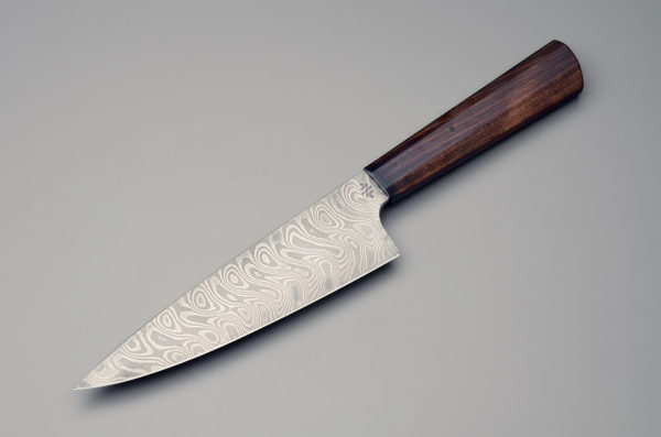"7"" High Carbon Damascus Steel Chef Knife With Stabilized Brown Birch – Octagonal ""Wa"" Style Handle"