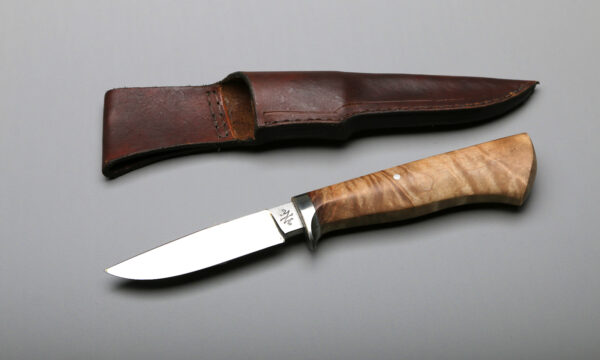 Drop Point Hunter Blade and Knife With Rock Maple Handle