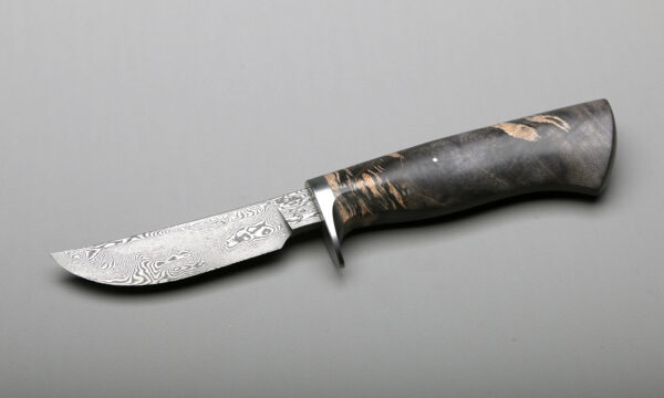 Trailing Point Hunter Damascus & Black Rock Maple Best Forged Kitchen Knives