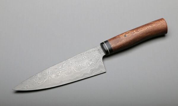 "Custom 6"" Dasmascus & Sycamore Chef's Knife"