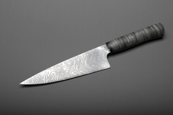 "7"" Damascus Steel & Black Curly Maple Handle Chef's Knife For The Kitchen"