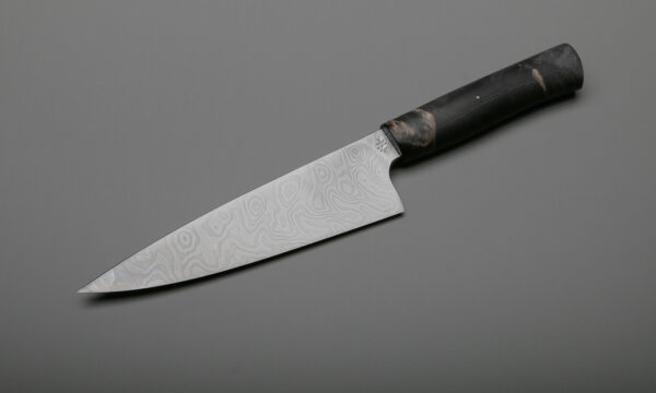 "7"" Custom Damascus & Black Maple Handle Chef's Cooking Knives"
