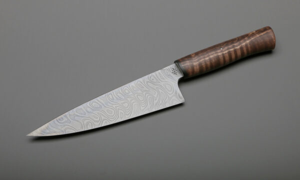 "7"" Damascus & Brown Maple's Chef & Knife"