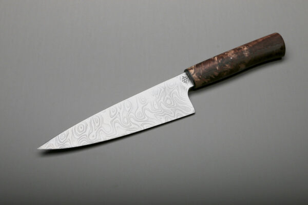 "7"" Custom Damascus & Brown Maple Handle Chef Kitchen Knives"