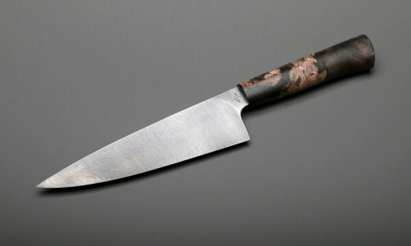 "7"" Custom Damascus & Brown Maple Handle Chef Knife"