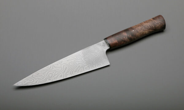 "7"" Damascus & Brown Maple Custom Made Kitchen Knife"