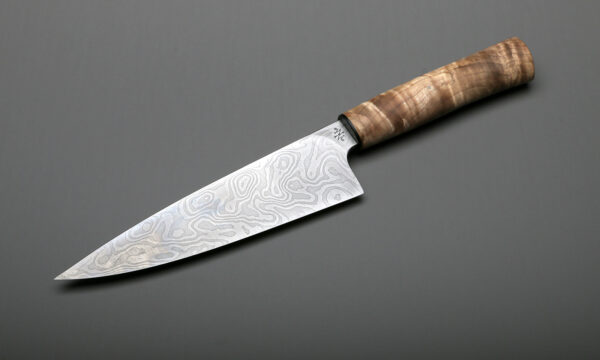 "7"" Damascus & Maple Handle Chef Knives & Blades For Sale"