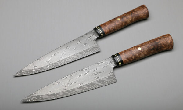 "7"" Multi-Twist Damascus Forged Chef Knives"